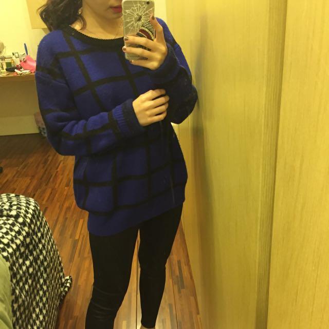 藍黑線條毛衣