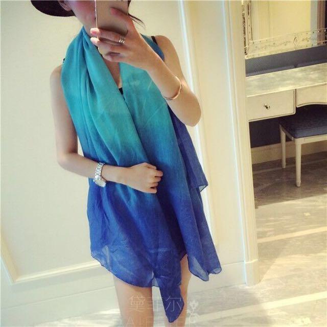 大推薦 真的超美 彩色漸層 棉麻披肩絲巾,3色