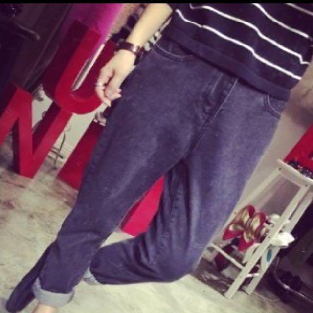全新寬鬆牛仔哈倫褲 深灰 S