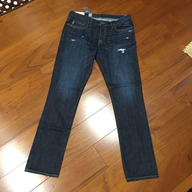 全新 A&F Abercrombie 正品 直筒牛仔褲 33W