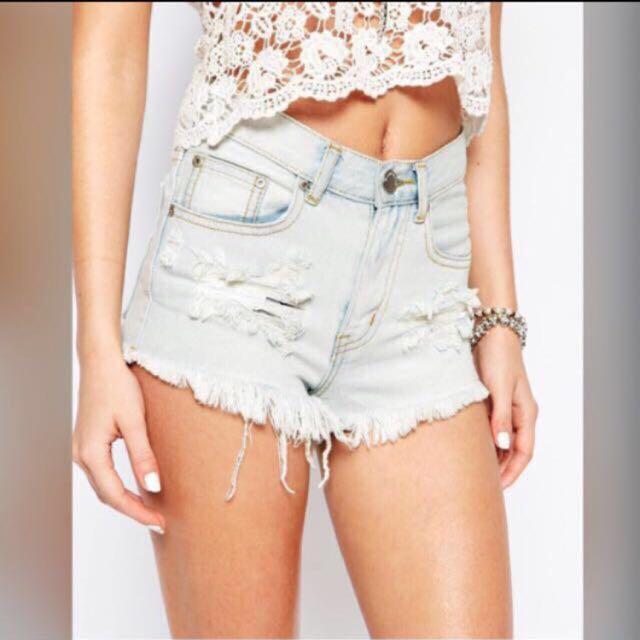 ASOS Glamorous Petite Ripped Shredded Light Wash Denim High Waist Shorts (UK8)