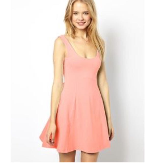 Asos Skater Dress In Peach Size 8