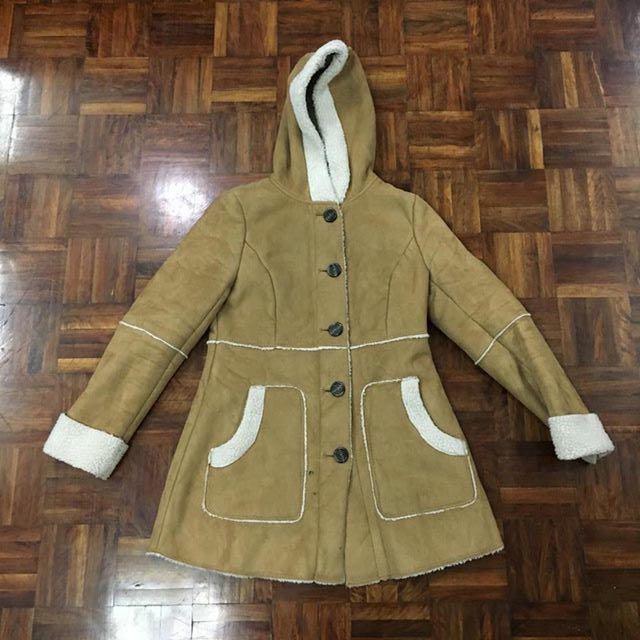 H&M短麂皮刷毛保暖外套/大衣/復古