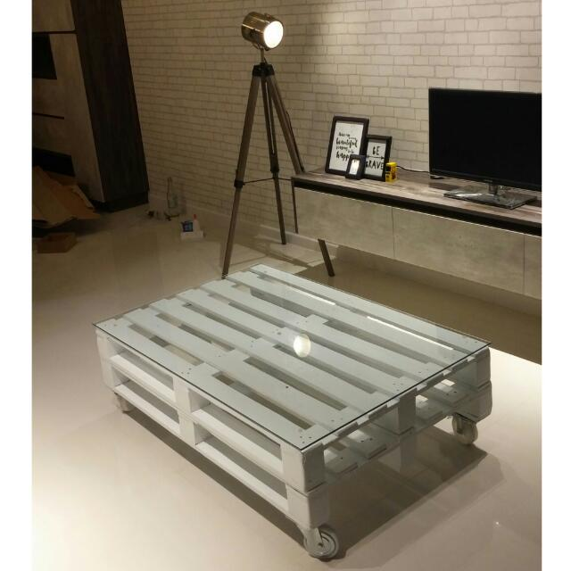 Industrial Coffee Table White: [RESERVED] Industrial Coffee Table Wooden Pallet With