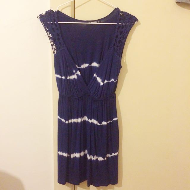 Navy Blue Tie Die Dress