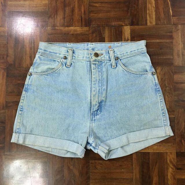 Wrangler 古著淺藍牛仔短褲 水洗復古刷舊 Vintage