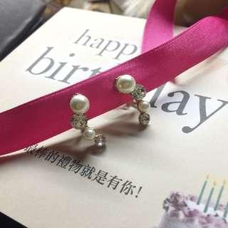 含運 夾式耳環(正韓)仿珍珠鑽石氣質款