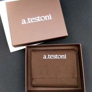 A.Testoni Wallet BNIB Made In Italy Bifold 8cc Slots Black Genuine Leather