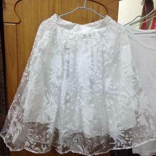 花紋薄紗裙 白色