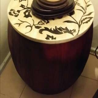 Price Reduce > Side Table Drum With Marble Top