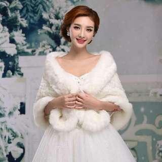 t68-50新娘婚紗披肩冬結婚毛披肩外套加厚保暖禮服披肩伴娘毛披肩