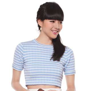 Love Bonito Tilly Striped Crop Top in Baby Blue, Size S