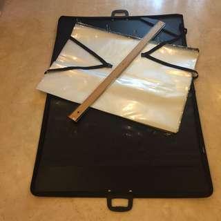 A1 Portfolio Case + Plastic Pockets + T Square