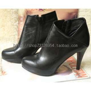 夜店 性感 厚底 高跟鞋 側V拉鍊 短靴 裸靴 黑色