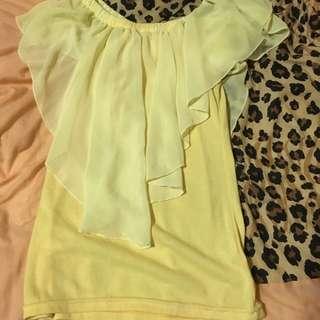 明亮黃無袖外罩薄紗上衣