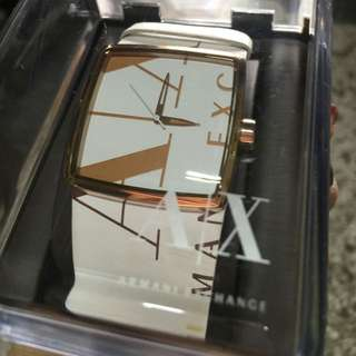 Armani Exchange A|X 阿曼尼美國購入白金真皮寬帶手錶