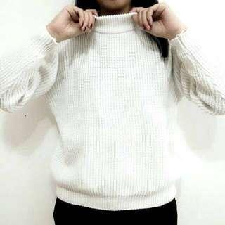 粗線小立領寬鬆毛衣