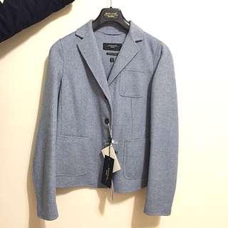 MaxMara 全新 灰藍色 西裝羊毛外套