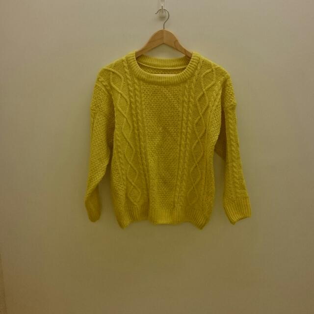 【保留】螢光黃針織毛衣