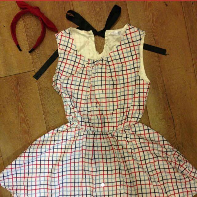 紅藍格紋後綁帶小洋裝