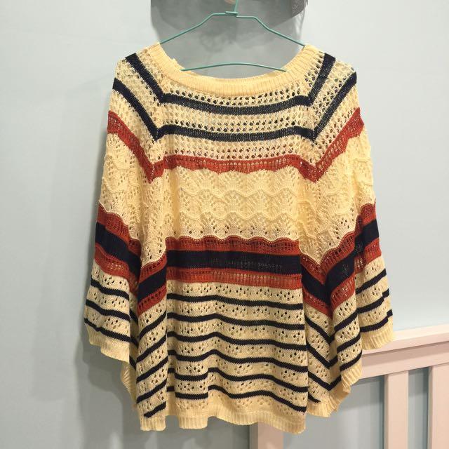 降價❣條紋斗篷針織衫💕