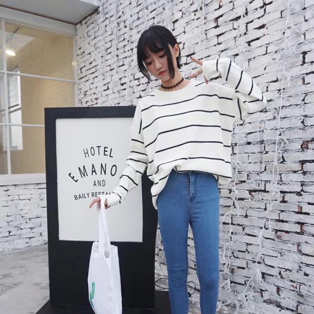 預🌼韓國條紋針織毛衣