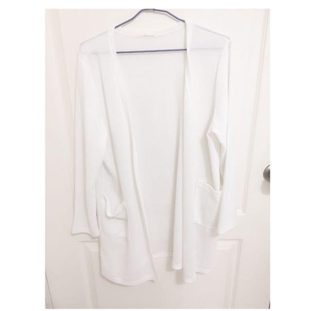 針織長版白外套