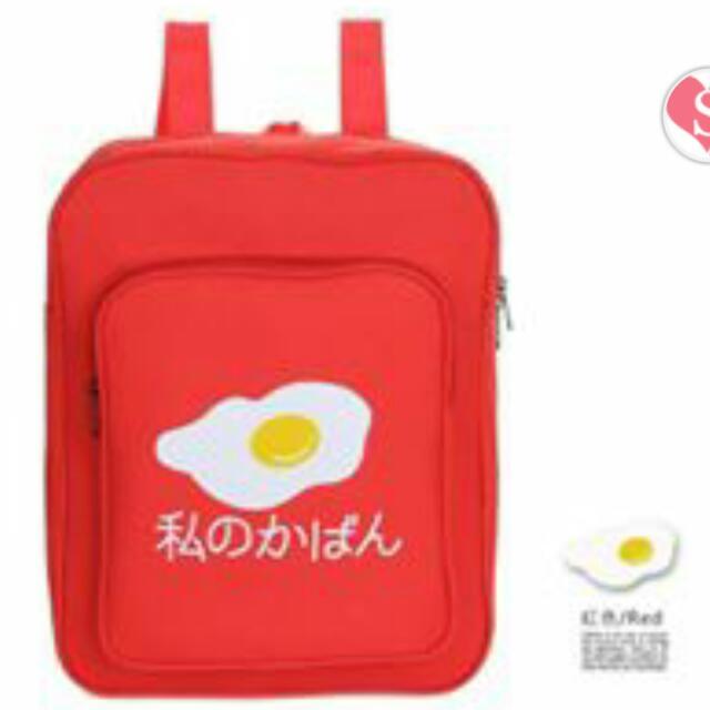 全新 日韓可愛荷包蛋後背包