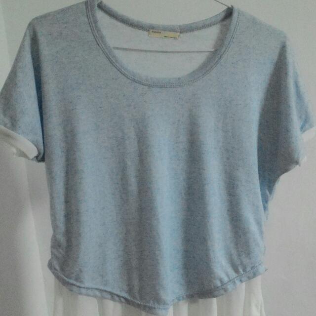 水藍*白雪紡 上衣