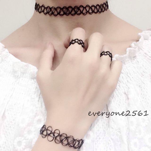 日韓歐美復古 黑色紋身 刺青頸鍊+手鍊+2戒指 頸鍊項圈項鍊 現貨