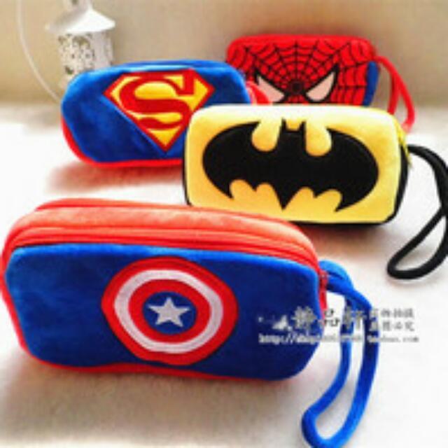 收 超人系列筆袋 鉛筆盒 絨毛 雙拉鍊