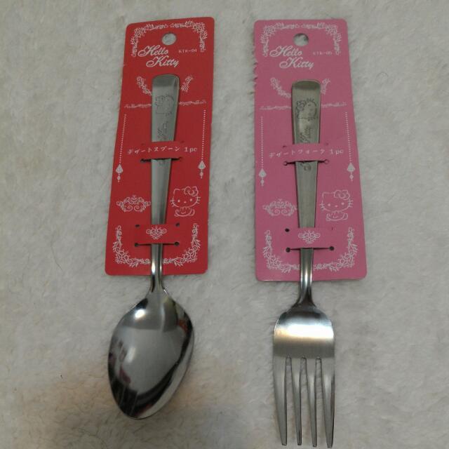 [日本帶回] Sanrio三麗歐 Hello Kitty 厚實感 雕花餐具 湯匙 叉子