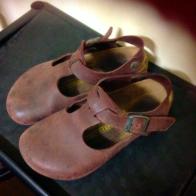 德國Birkenstock勃肯鞋 包鞋 真皮牛皮 酒紅色 棗紅色36號專櫃正品