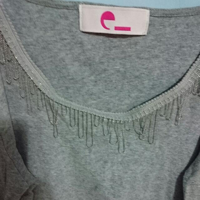 全新日本E Hyphen灰色棉質流蘇內搭上衣