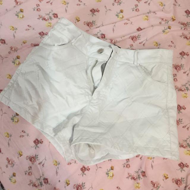 forever21 白 皮褲 菱格紋 S