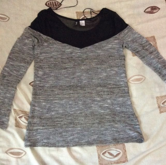 H&m Knit And Sheer Top