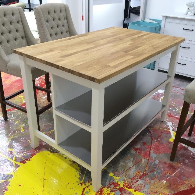 Ikea STENSTORP Kitchen island, white, oak, Furniture on Carousell