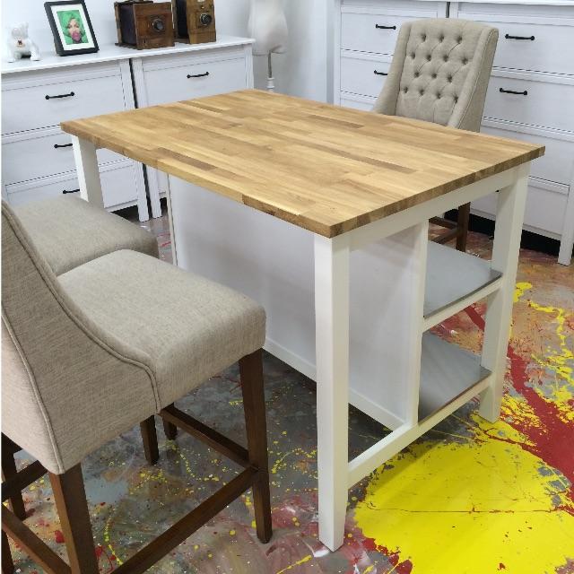 Ikea STENSTORP Kitchen Island, White, Oak, Home U0026 Furniture On Carousell