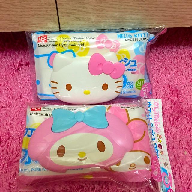美樂蒂、Kitty袋裝濕紙巾