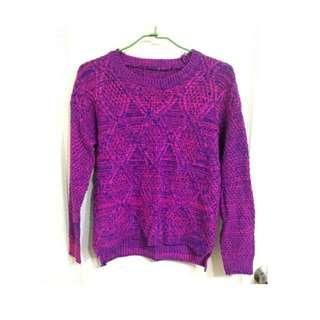🚚 針織 毛衣 混針 藍紫 粉紫 長袖 長T 粉紅 紫色