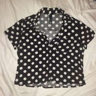Cropped Polka-dotted Blouse
