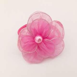 Large Pink Flower Hair Tie