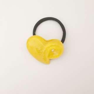 Yellow Heart Hair Tie With Rhinestone