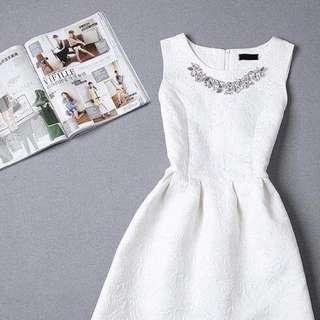 Bridesmaid White Color Dress