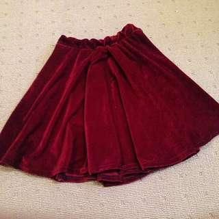 Red Velvet Skirt Size 6