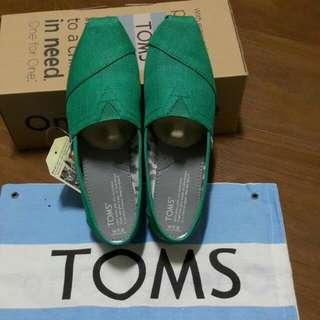 美國官網 正品 Toms 全新 綠色帆布鞋w7.5