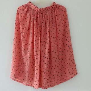Vintage Salmon Pink Midi Skirt with Coffee Bean Print