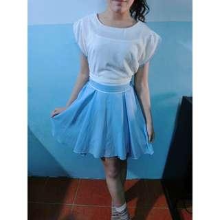 正韓天藍色雪紡小洋裝