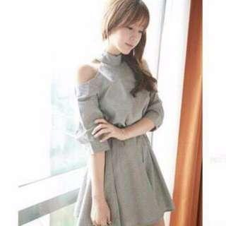 灰色復古小洋裝