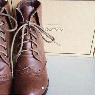Starmimi牛津雕花反折高跟靴